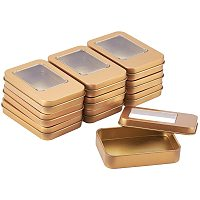 BENECREAT 10 Pack 3.5x2.5 Rectangle Metal Tin Cans Gold Tin-Plated Box with Small Clear Window for Gifts Party Favors and Other Accessories