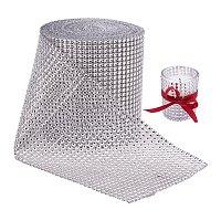 "BENECREAT 10 Yards Diamond Sparkling Rhinestone Mesh Ribbon Roll for Arts & Crafts, Event Decorations, Wedding Cake, Birthdays, 4.75"", 24 Row (Silver)"