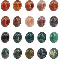 NBEADS 30 Pcs European Beads, Natural Indian Agate Round Beads Large Hole Beads for Jewelry Making, Hole: 6mm
