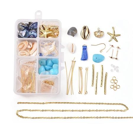 NBEADS Ocean Theme, DIY Earring Making, with Iron Stud Earring & Earring Hooks & Cable Chains & Jump Rings, Alloy Bar Links & Pendants, Shell Beads, Brass Pendants, Tassel Pendants, DodgerBlue, 110x70x30mm