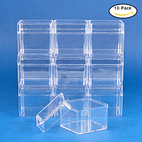 BENECREAT 10 Pack Large Square High Transparency Plastic Bead Storage Containers Box Drawer Organizers for beauty supplies, Tiny  Findings, and Other Small Items - 2.2x2.2x2 Inches