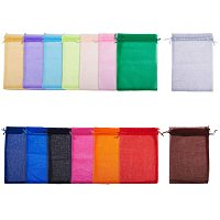 """Arricraft 15 Color Large Organza Gift Party Favor Bags, 60pcs 7.8""""x11.8"""" Sheer Organza Gift Bags with Drawstring for Christmas Wedding Party Favors, 20x30cm"""