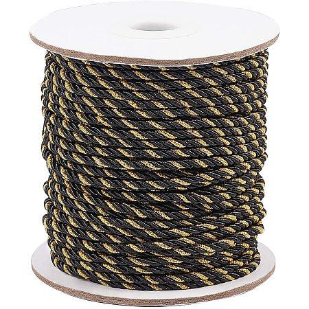 PandaHall Elite Decorative Metallic Twisted Cord Trim, 38 Yards 3mm Braided Rope Cord Thread String for Home Décor, Embellish Costumes, Honor Cord, Christmas Bag Drawstrings (Black)
