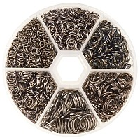 PandaHall Elite 1 Box Black Iron Plated Jump Rings Diameter 4mm to 10mm Jewelry Connectors Chain Links, about 1745pcs/box