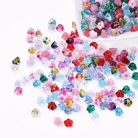 NBEADS Czech Glass Beads, Transparent/Imitation Opalite/Electroplated/Gold Inlay Color/Dyed, Flower, Mixed Color, 6.5x5mm, Hole: 0.8mm; about 357~363pcs/bag