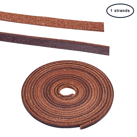 PandaHall Elite 1 Strand 3mm Flat Genuine Cowhide Leather Lace Cord Braiding String Leather Strips 2.2 Yard for Jewelry Making Light Brown