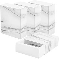 BENECREAT 16 Pack Marble White Kraft Paper Drawer Box 5x4x1.5 Inch Rectangle Gift Wrapping Boxes Soap Jewelry Candy Packaging Box for Wedding Birthday Party Favors