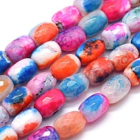"""NBEADS Dyed Natural Dragon Veins Agate Beads Strands, Faceted, Barrel, 17~18x12.5~13mm, Hole: 1.4~1.5mm; about 22pcs/strand, 15.5""""(39.5cm)"""