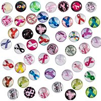PH PandaHall 140pcs 70 Styles Pink Awareness Ribbon Glass Cabochons 12mm Half Round Dome Cabochons Silk Ribbon Mosaic Printed Picture Tile for Necklace Jewelry Making