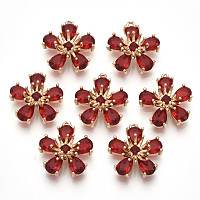 Transparent Glass Pendants, with Golden Tone Brass Findings, Faceted, Flower, Red, 16x14.5x6mm, Hole: 1mm