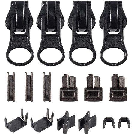 PH PandaHall #5 Zipper Repair Kit - 6 Sets Zipper Latch Slider Retainer, 12 Sets Top Stopper Bottom Stopper and 12pcs Resin Zipper Puller for Zipper Repair Zipper Repair Kit