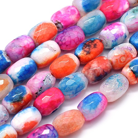 NBEADS Dyed Natural Dragon Veins Agate Beads Strands, Faceted, Barrel, 17~18x12.5~13mm, Hole: 1.4~1.5mm; about 22pcs/strand, 15.5