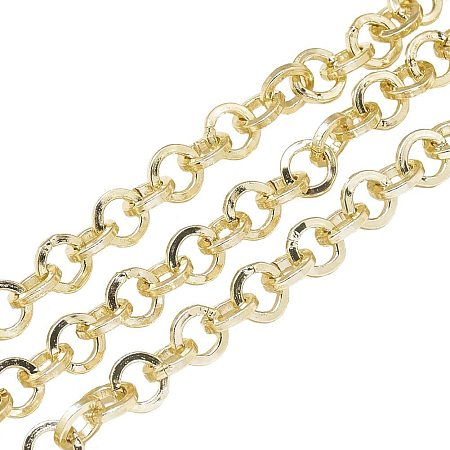 NBEADS 2m/2.18 Yards Gold Unwelded Aluminium Twisted Chains Jewelry Making Chains Necklace Link Cable Chain for DIY Jewelry Making