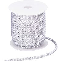 PandaHall Elite 5mm 3 Braided Cord Trim, 3-Ply Polyester Twisted Cord Shiny Cording Decorative Twine Cord Rope String for Home Décor, Embellish Costumes, Christmas Bag Drawstrings (59 Feet, Gainsboro)
