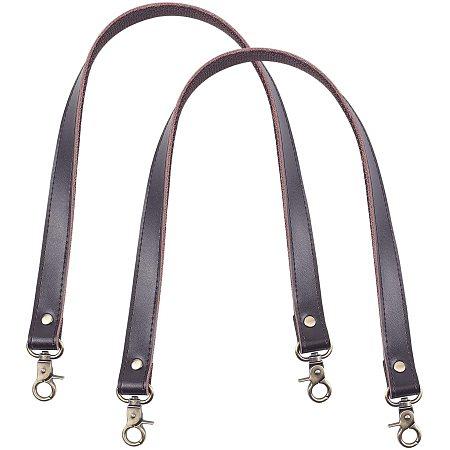PandaHall Elite 2 pcs 23 Inch Leather Replacement Handles Purses Straps Handbags Shoulder Bag Strap with Antique Bronze Swivel Lobster Buckles, Coconut Brown