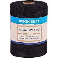 BENECREAT 656 Feet 2mm Natural Jute Twine 3Ply Black Jute String Rope for Gardening, Gift Packing, Arts & Crafts and Party Decoration