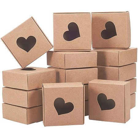 BENECREAT 30 Packs Kraft Paper Boxes with Heart Shape Window 3x3x1.2 Cardboard Gift Boxes for Party Favor Treats and Jewelry Packaging