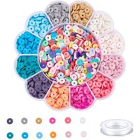PandaHall Elite 8mm Colorful Bead Kit, Approx 2424pcs Heishi Disc Flat Polymer Clay Beads with 0.8mm Crystal Elastic Thread for Bracelet Craft Supplies