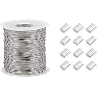 PandaHall Elite 328 Feet/109 Yards 0.8mm Heavy Duty Picture Hanging Wire, 304 Stainless Steel Photo Frame Hanging Wire with 30 pcs Aluminum Crimping Loop Sleeve for Mirrors Frames, Load Capacity 25.3LB