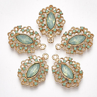 NBEADS Alloy Pendants, with Resin Rhinestone, Oval, Light Gold, DarkSeaGreen, 27x19.5x4.5mm, Hole: 1.8mm