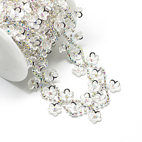 Wedding Dress Decorative Iron Rhinestone Chains, with Spool, Rhinestone Cup Chain, Silver Color Plated, Crystal AB, 34x4mm; about 5yards/roll