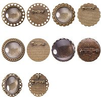 NBEADS 25 Sets DIY Brooch Making Settings, 5 Different Sizes Antique Bronze Alloy Brooch Pendant Trays with Safety Pins and Matching Transparent Glass Cabochons for Photo Brooch Jewelry Craft Making