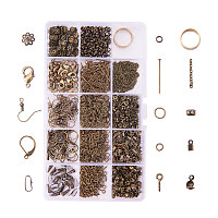 PandaHall Elite About 1642 Pcs Jewelry Making Findings Kits with Cord Ends Lobster Claw Clasps Jump Rings Headpins Earring Bead Caps Pinch Bails Twist Chain Links 174x100x21.5mm Antique Bronze
