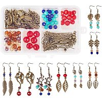 SUNNYCLUE 1 Box DIY 8 Pairs Tree Leaf Dangle Hook Earrings Making Kit Leaf Leaves Branch Charms Finding Pendants Beads Jewelry Making Crafts, Antique Bronze, Instruction
