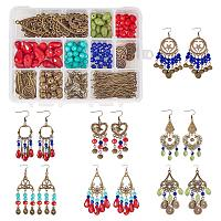 SUNNYCLUE 1 Box DIY 7 Pairs Chandelier Earrings Making Starter Kit Include Earring Connector Charm Findings Nickel Free, Assorted Beads, Earring Hooks Jewelry Making Supplies Kit Women Girls Adults