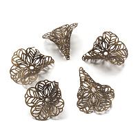 ARRICRAFT About 100 Pcs Brass 3 Petal Filigree Flower Bead Caps 29x24mm Jewelry Making Antique Bronze