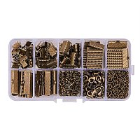 PandaHall Elite About 500Pcs Antique Bronze Jewelry Finding Sets with Mixed Sizes Ribbon End Drop Ends Jump Ring Chains Class Learning Lots
