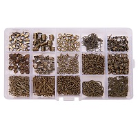 PandaHall Elite Antique Bronze Jewelry Finding Kits with Fold Over Ends Knot Covers Ball Chain Extensions End Pieces Earring Hooks Head Pins Lots in In A Box, about 870pcs/box