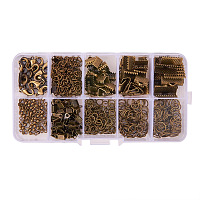 PandaHall Elite About 440Pcs Jewelry Findings Sets with Fold Over Crimp Ends Ribbon Ends Twist Chains and Brass Lobster Claw Clasps Antique Bronze