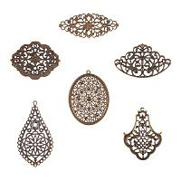 PandaHall Elite 120pcs 6 Style Antique Bronze Iron Filigree Connectors Charms Pendants Metal Embellishments for DIY Hairpin Headwear Earring Jewelry Making