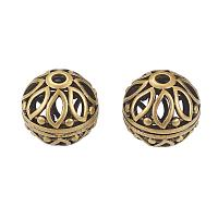 NBEADS 10 Pcs Antique Bronze Hollow with Flower Round Loose Beads for Bracelet Necklace DIY Jewelry Making