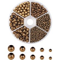 PH PandaHall 1150pcs 5 Sizes Smooth Spacer Beads Antique Bronze Tiny Spacer Beads Loose Beads for Jewelry Making Supplies(2.4mm, 3mm, 4mm, 5mm, 6mm)