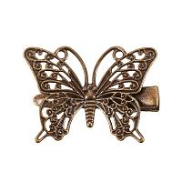 PandaHall Elite 20 pcs Iron Alligator Hair Clip Findings with Butterfly Hair Clip for Women, Antique Bronze