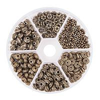 PandaHall Elite About 295pcs 6 Style Antique Bronze Column Flower Snowflake Bicone Spacer Beads for Bracelet Necklace Jewelry Making Findings Accessories