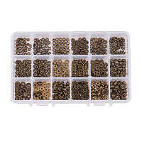 PandaHall Elite 540pcs 18 Styles Antique Bronze Tibetan Style Alloy Spacer Beads Jewelry Findings Accessories for Bracelet Necklace Jewelry Making