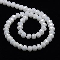 NBEADS 1 Strand AB Color Plated Opaque Solid White Crystal Electroplate Faceted Abacus Glass Beads Strands with 6x4mm,Hole: 1mm,about 95pcs/strand