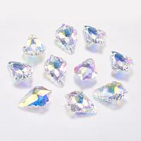 ARRICRAFT Faceted Glass Rhinestone Charms, Imitation Austrian Crystal, Leaf, Crystal AB, 11.5x16.5x5.5mm, Hole: 1mm