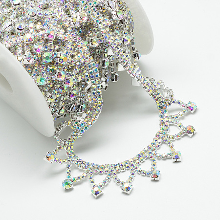 Brass Glass Rhinestone Chains, with Spool, Rhinestone Cup Chain, Crystal AB, Silver Color Plated, 24x4mm; about 5yards/roll(4.572m/roll)