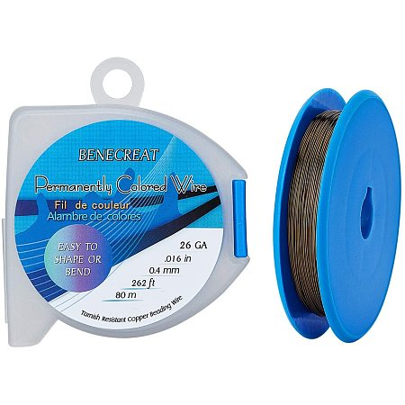 BENECREAT 26 Gauge 262 Feet/87 Yard Copper Wire Tarnish Resistant Jewelry Beading Wire for Craft Project Making, Antique Bronze