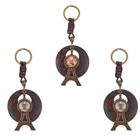 SUNNYCLUE 3pcs 20mm Tower Pendant Trays Round Bezel with Keyring & 3pcs Clear Glass Cabochon Dome Tiles - DIY Cabochon Keychain Blank Cameo Bezel Settings for Photo Craft