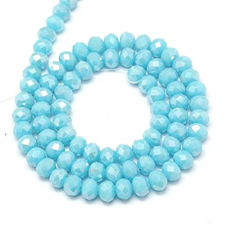 NBEADS 10 Strands AB Color Plated Electroplate Opaque Solid Color Crystal Faceted Abacus SkyBlue Glass Beads Strands With 6x4mm,Hole: 1mm,About 95pcs/strand