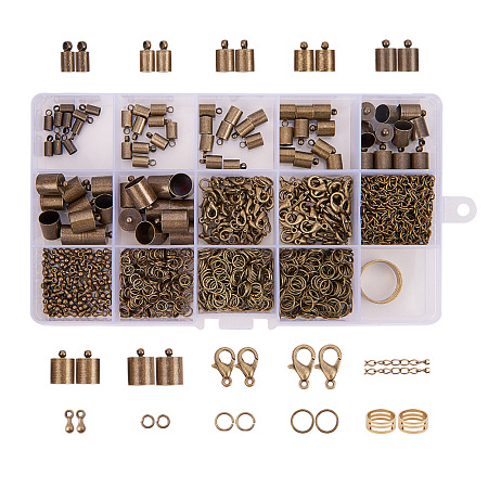 PandaHall Elite About 890Pcs Antique Bronze Jewelry Finding Sets with Jump Rings Lobster Clasps End Piece Chains and Assistant Buckling Tool