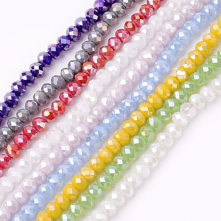 NBEADS Electroplate Glass Beads Strands, AB Color, Faceted, Rondelle, Mixed Color, 4x3mm, Hole: 1mm; about 138pcs/strand, 16.5