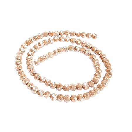 NBEADS 10 Strands AB Color Plated Faceted Abacus Champagne Electroplate Imitation Jade Glass Bead Strands with 6x5mm,Hole:0.8mm,about 91pcs/strand