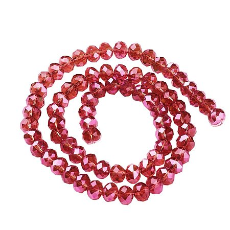NBEADS 10 Strands AB Color Plated Faceted Abacus Red Electroplate Glass Beads Strands With 6x4mm,About 100pcs/Strand