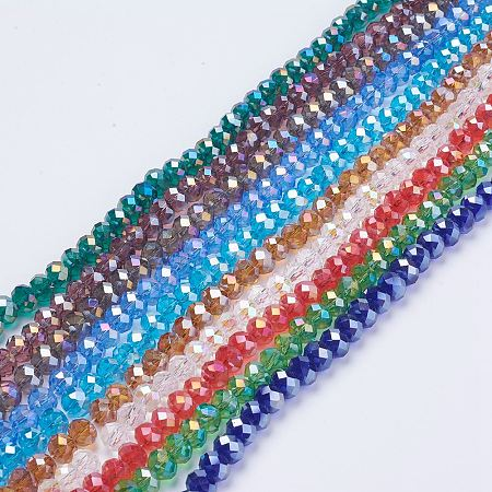 ARRICRAFT Electroplate Glass Beads, Mixed Color, AB Color Plated, Faceted Rondelle, 8mm in diameter, 6mm thick, hole: 1mm; about 68~70pcs/strand